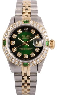 Rolex Rolex Lady Datejust 2 Tone 18k-Green Vignette Diamond Dial-Emerald Dia