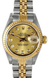 Rolex Rolex Lady Datejust Stainless Steel and 18K Yellow Gold Champagne Diamond Fluted Watch