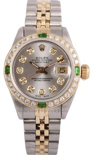 Rolex Rolex Lady Datejust TT 18k-Silver Diamond Dial-Emerald Diamond Bezel