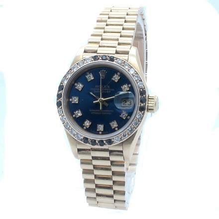 Rolex Rolex Datejust 18K Yellow Gold Custom Diamond & Sapphire Ladies Presidential Watch