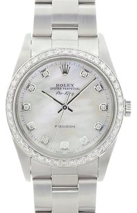 Rolex Rolex Men's Air King Stainless Steel White Mother of Pearl Diamond Dial Watch 14000