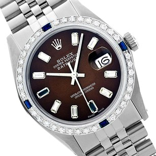 Rolex Rolex Men's Datejust 16014 Chocolate Brown Dial Sapphire Diamond Bezel