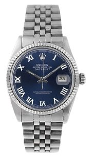 Rolex Rolex Men's DateJust Stainless Steel Blue Roman Dial 18K White Gold Fluted Bezel Watch 16234