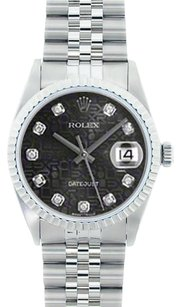 Rolex Rolex Men's DateJust Stainless Steel Jubilee Diamond Dial Watch 16014
