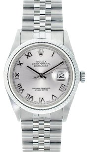 Rolex Rolex Men's DateJust Stainless Steel Silver Roman Dial Watch 16014