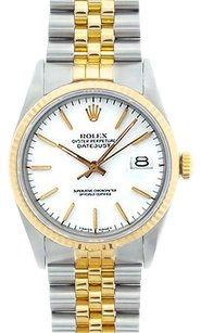 Rolex Rolex Men's DateJust Two-Tone White Stick Dial Watch 16013