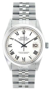 Rolex ROLEX Men's Datejust White Roman Dial Stainless Steel Watch 16030