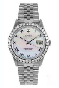 Rolex Rolex Men's DateJust White Roman Mop Diamond 2ct Bezel Watch 16014