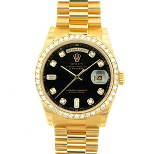 Rolex Rolex Men's Day-Date Black Diamond President Watch 18038