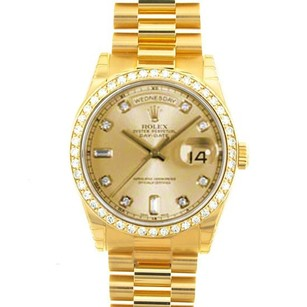 Rolex Rolex Men's Day-Date President Champagne Diamond Watch 18038