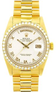Rolex Rolex Men's Day-Date President White Roman Diamond Bezel Watch 18038