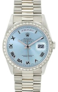 Rolex Rolex Men's Day-Date White Gold President Ice-Blue Diamond Watch 18239