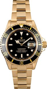 Rolex Rolex Men's Oyster Perpetual Yellow Gold Black Submariner Watch 16618