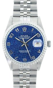 Rolex Rolex Men's Stainless Steel Datejust Blue Jubilee Dial Watch