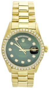 Rolex Rolex Mens Daydate President 18K Gold Green Diamond Watch