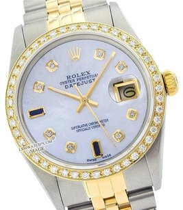 Rolex ROLEX MID-SIZE DATEJUST OYSTER PERPETUAL SS/18K GOLD MOP DIAMOND WATCH