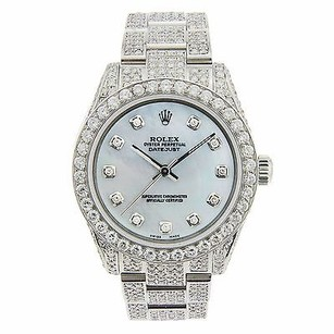Rolex Rolex Non Date 177200 Blue Mother Of Pearl Dial - Oyster Diamond Bracelet 2.95ct