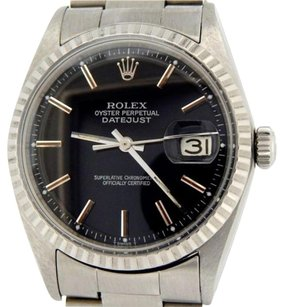 Rolex Rolex Oyster Perpetual Datejust Men Stainless Steel Watch Oyster Black Dial 1603