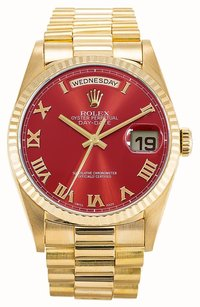Rolex Rolex 18K Gold Day- Date Presidential Red Roman dial Men's Watch