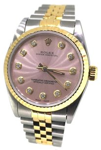 Rolex Rolex Oyster Perpetual Two Tone Silver Diamond Dial Watch