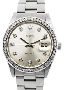 Rolex ROLEX OYSTER DATE STAINLESS STEEL CUSTOM DIAMOND MEN'S WATCH.