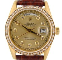 Rolex Rolex Solid 18k Yellow Gold Day-date President Champagne Diamond Burgundy 18038