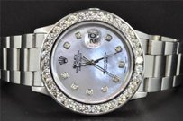 Rolex Rolex Stainless Steel Date Just Oyster Perpetual Watch Ct Diamond Mop Dial