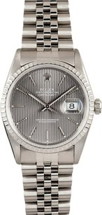 Rolex Rolex Stainless Steel Datejust Grey Tapestry Dial Watch 16220