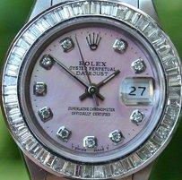 Rolex Rolex Steel Ladies 26mm Datejust Watch Warranty 1994 Serial S Diamond Mop Dial