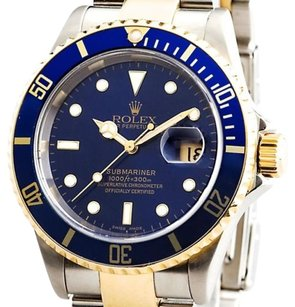 Rolex Rolex Submariner 18k Yellow Goldstainless Steel No Holes Sel Blue Sub 16613t