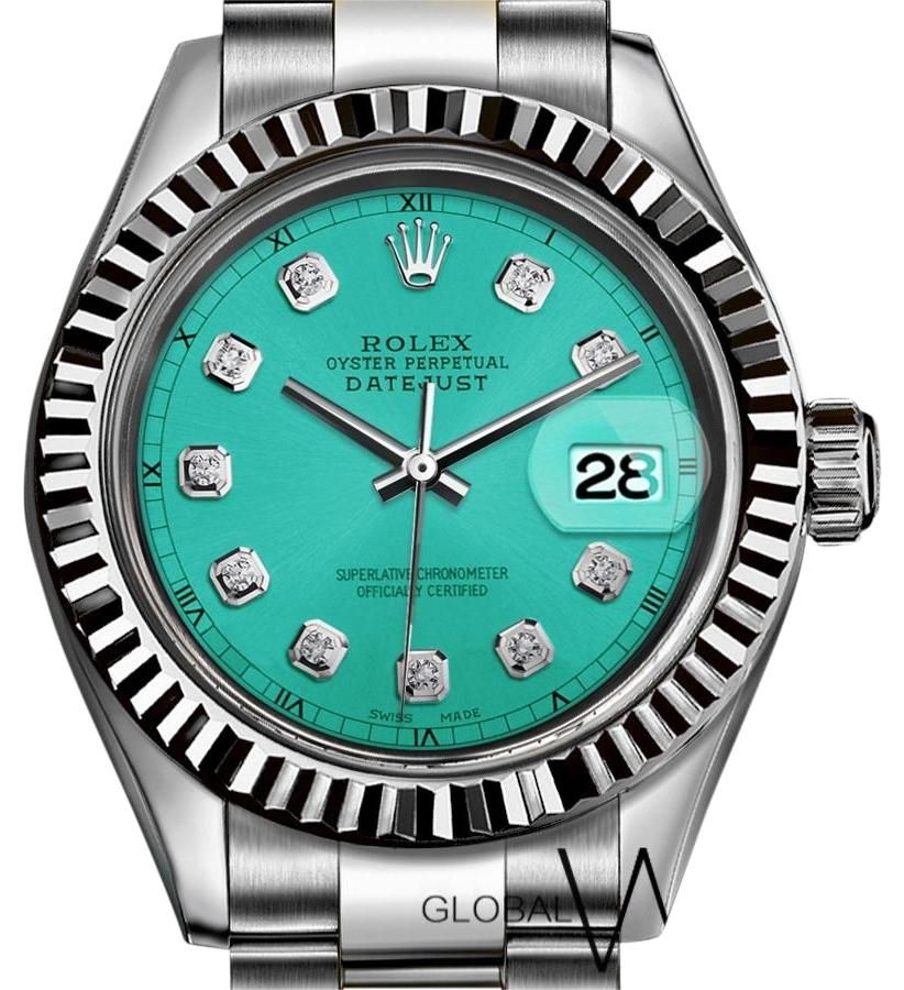 rolex turquoise tiffany blue diamond numbers 36mm 18k white gold ss watch tradesy