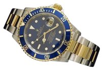 Rolex Rolex Two-tone 18k Goldstainless Steel Submariner No Holes Sel Blue Sub 16613t