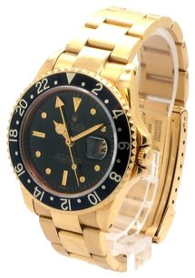Rolex Rolex Vintage GMT Master 16758 18K Yellow Gold Black Dial Men's Watch