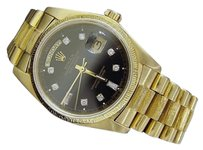 Rolex Mens Rolex Day-date President 18k Yellow Gold Bark Watch Wblack Diamond Dial