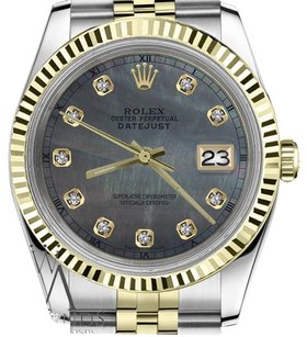 Rolex Ladies Rolex 31mm Datejust2tone Black Mop Mother Of Pearl Dial With Diamond