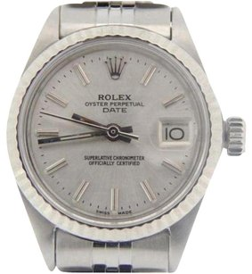 Rolex Rolex Date Lady Stainless Steel 18k White Gold Watch Jubilee Silver Dial 6917