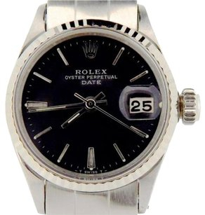 Rolex Vintage Rolex Date Ladies Stainless Steel Watch 18k White Gold Bezel Black 6517