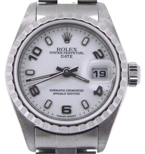 Rolex Rolex Date Ladies Stainless Steel Watch Quickset Oyster Band White Arabic Dial
