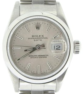 Rolex Rolex Date Lady Stainless Steel Watch Quickset Oyster Band Silver Tapestry 69160