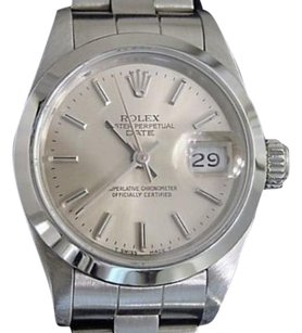 Rolex Rolex Date Ladies Stainless Steel Watch Quickset Oyster Band Silver Dial 69160