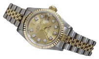 Rolex Rolex Datejust Ladies 2tone 18k Yellow Gold Steel Watch Diamond Champagne 69173