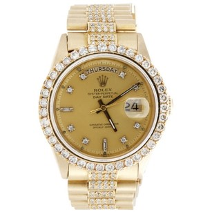 Rolex 18k Yellow Gold Mens Rolex Presidential Prong Diamond Day-date 36mm Watch Ct.