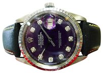 Rolex Mens Rolex Oyster Perpetual Datejust Stainless Steel Purple Dial Watch