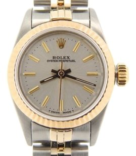 Rolex Ladies Rolex 2tone 18k Yellow Goldss Oyster Perpetual Wsilver Dial 67193