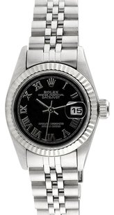 Rolex 18K/SS Datejust Black Roman Dial 26mm Ladies Watch