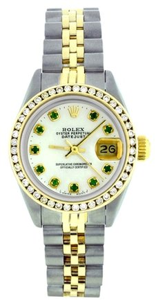 Rolex Rolex Datejust Two-Tone Custom Emerald & Diamond Ladies Watch