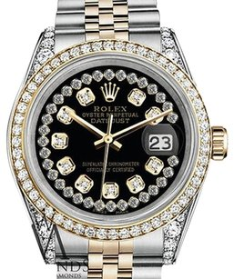 Rolex Stainless Steel-gold Mm Datejust Watch Glossy Black String Diamond Dial