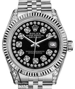 Rolex Womans Rolex 26mm Datejust Glossy Black String Diamond Accent Dial Watch
