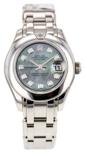 Rolex Women's Datejust Pearlmaster 29mm Watch in 18k White Gold with Custom Mother of Pearl and Diamond Dial RLXLPMW6