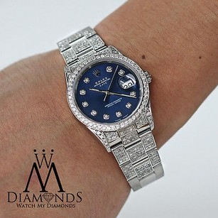 Rolex Womens Diamond Rolex Date 34mm Blue Diamond Dial Diamond Oyster Band And Bezel